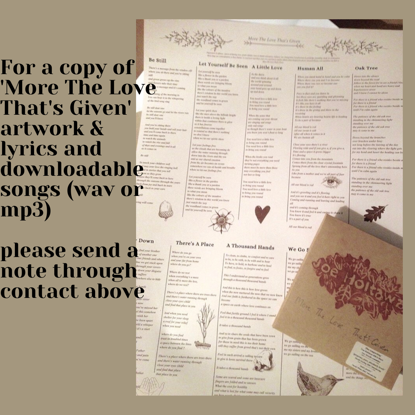 For a copy of More The Love That's Given artwork