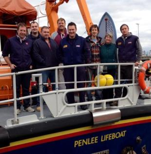 Joe Holtaway and family say thank you to Penlee RNLI crew